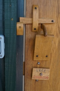 compost toilet latch detail