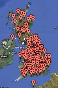 Map showing location of NatSol compost toilet installations in the UK