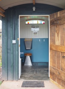 Compost toilet at Hollow Ash Shepherd's Huts glamping site