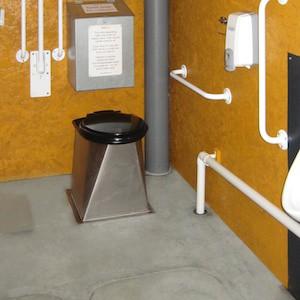 Compost toilet at Growing Communities site in Dagenham, London