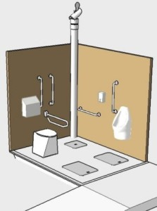 Cross section of toilet cubicle showing key features
