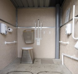 Accessible waterless toilet interior in Derbyshire