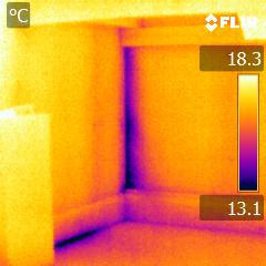 Thermal imaging used to identify air leaks in our insulated office