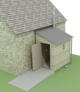 Building design for compost toilet for church
