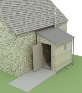 Sketchup impression of a timber NatSol toilet on side of a church