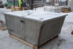 Glass reinforced concrete composting toilet chambers