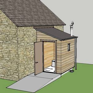 Sketchup impresion of a lean to on a church building