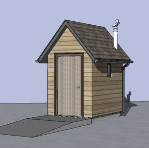 Sketch up of a pitched roof timber building