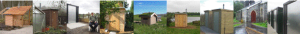 Photo strip showing different natsol compost toilet installations