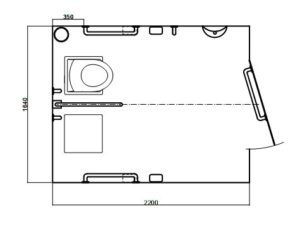 Cubicle layout for Mk 3 Full Access toilet with 6 grab rails
