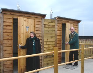 Mayor opening natsol compost toilets on Hilbre Island