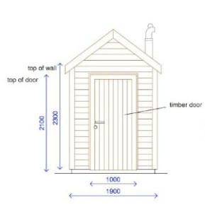 Double pitched roof compost toilet building design