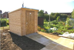 Timber compost toilet on allotment