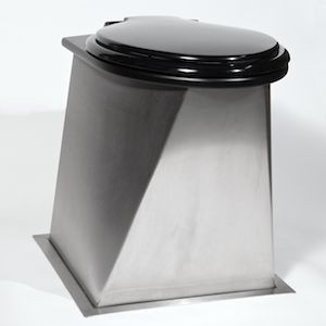 Urine separating compost toilet pedestal in stainless steel