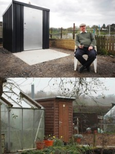 Composting toilets with metal and timber buildings
