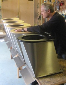 General manager Chris Frost checks toilet pedestals at NatSol