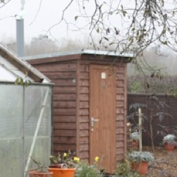 Wooden building for natsol compost toilet
