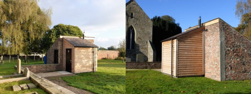 Lean-to toilet building at All Saints, Thirsk