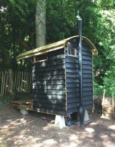 NatSol Compact toilet in shepherd's hut.