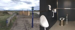 Two Zero Discharge toilets supplied with NatSol full access buildings for a Scottish Beach