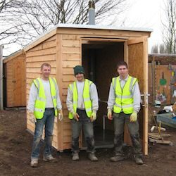 Compost Toilet installation team